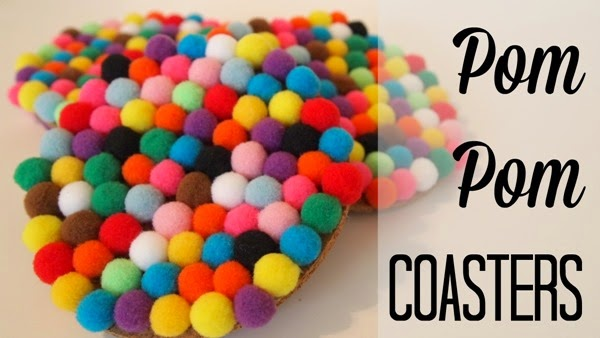 Pom pom coasters for a bit of whimsy! via @mvemother