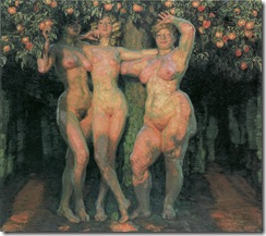 František Kupka, Autumn Sun, Three Goddesses, 1906. O/C 103 x 117 cm, NG Prague. Source: Painting the Universe-Kupka-Pioneer in Abstraction.