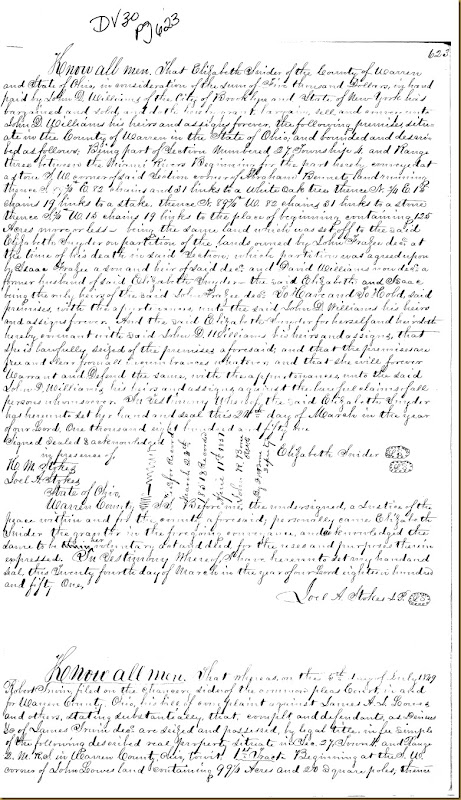Robert Irwin filed complaint Common Law in Warren County, Ohio 1849