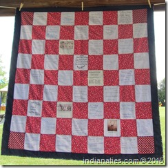 2014 Niehaus Family Quilt made from squares created at the 2014 Reunion by the attendees.