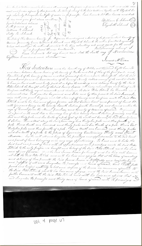 James Irwin of Butler Co to Peter Tetrick 11 October 1811_0001
