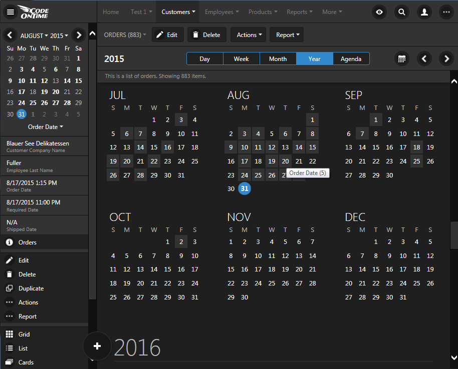 'Year' view in Calendar view style of an app created with Code On Time.