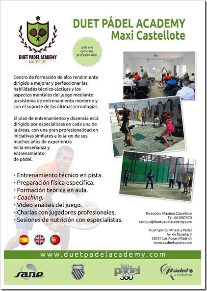 PROGRAMA Campus Pádel Alto Rendimiento Duet Academy con Máxi Castellote y su equipo, verano 2015.