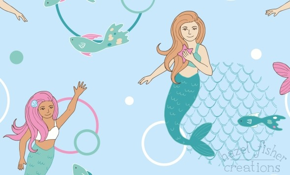 2015 May 26 Spoonflower mermaids contest illustration hazelfishercreations
