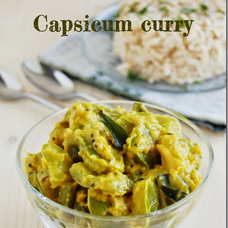 Green capsicum curry / Green bell pepper curry