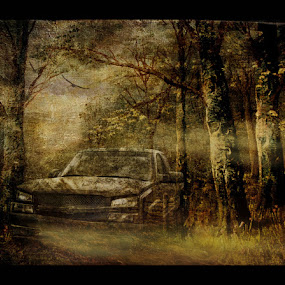 Ghost Truck by Val Ewing - Digital Art Things ( truck, spooky, bizarre, woods, ghostly )