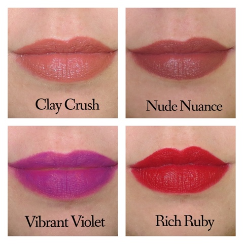 a picture of Maybelline Creamy Matte Lipstick ; Clay Crush, Nude Nuance, Vibrant Violent, Rich Ruby (lip swatch)