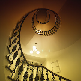 Hotel Staircase by Adam Lang - Buildings & Architecture Architectural Detail ( winding, staircase, spiral )