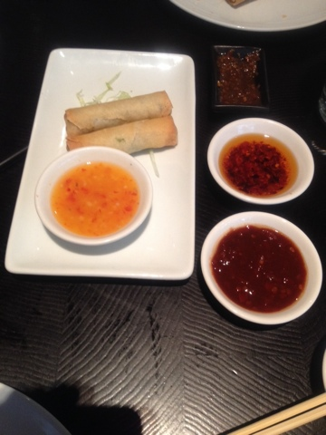 Vegetable spring rolls with sweet chilli dip at Ping Pong