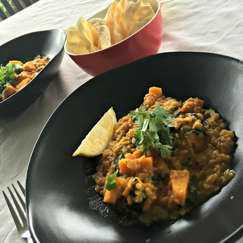 Red Lentil Dal with Sweet Potato and Spinach