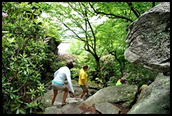 10d - Linn Cove Viaduct Hike May 29 - walking through the boulder field - Be VERY careful