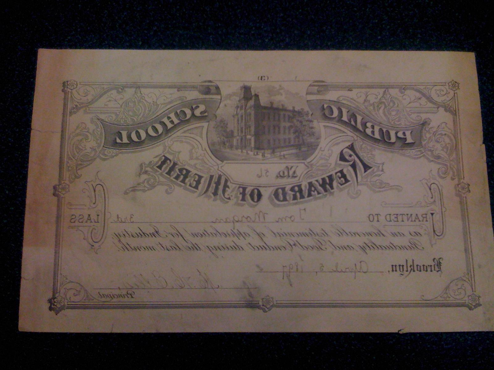 P.S. 56 merit reward, 1897.