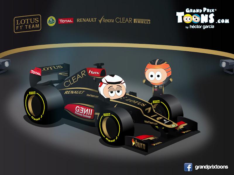 Кими Райкконен и Ромэн Грожан - Lotus E21 - 2013 Grand Prix Toons