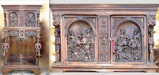 Красивый резной шкафчик с двумя дверками. 19-й век. Две дверки, два ящика, резные скульптуры. 90/45/161 см. 3700 евро.