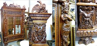 Красивый резной шкаф. ок.1860 г. Две стеклянные двери, и две откидные дверки в верхней и нижней части. 165/50/270 см. 8800 евро.