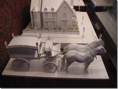 IMG_7620 Model of Horsedrawn Hearse in the Christmas Carol Train at Union Station in Portland, Oregon on July 1, 2009