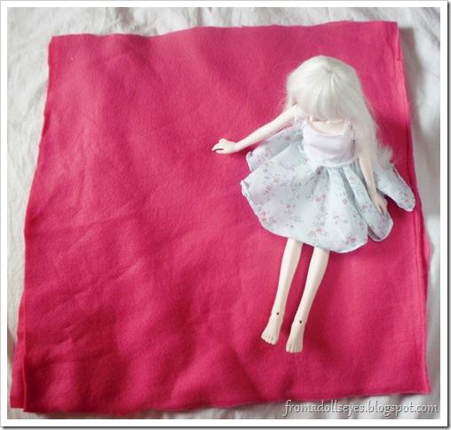 Making a Doll Sized No-Sew Fleece Blanket