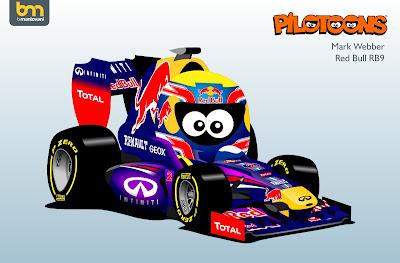 Марк Уэббер Red Bull RB9 pilotoons 2013