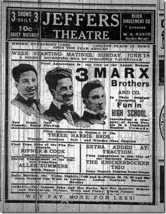 Anuncio en un periódico de una actuación de los Hermanos Marx en Saginaw, Míchigan. 1911