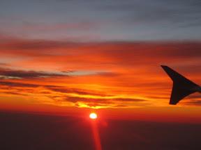 The setting sun as we approach the SFO from Guadalajara