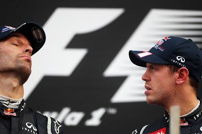Марк Уэббер и Себастьян Феттель на подиуме Гран-при Кореи 2012