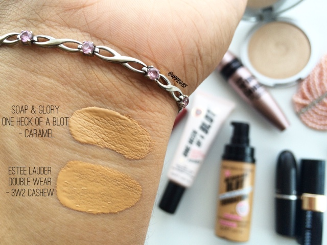 soap and glory one heck of a blot foundation caramel swatch