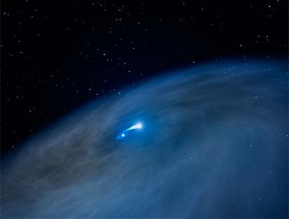 ilustração de estrela massiva e companheira pequena criando vasto disco de gás