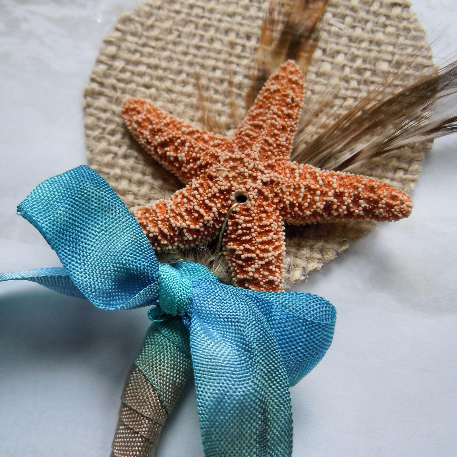 Starfish Feather Burlap