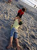 Kai and Eidan on the beach in San Diego