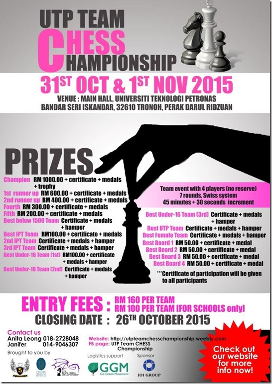 UTP TEAM CHESS CHAMPIONSHIP POSTER3 -2015
