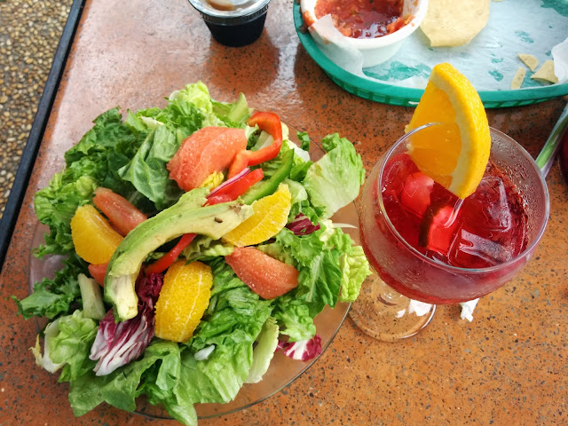 A colourful salad and Sangria at San Antonio for Lunch