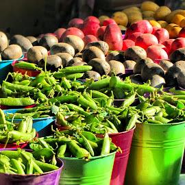 Farmer's Market  by Rachel Brokaw - Food & Drink Fruits & Vegetables ( fruit, buckets, bright, colorful, pruple, green, potatoes, homegrown, table, veggies, farm, red, green beans )