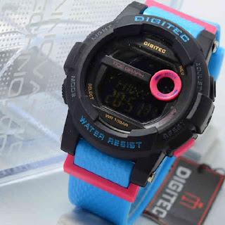 Jam Tangan Digitec DG2074 4lady blue rubber black dial  Original