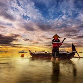 Fisherman by Ade Irgha - People Portraits of Men ( explore bali, clouds, boats, sunrise, fisherman )