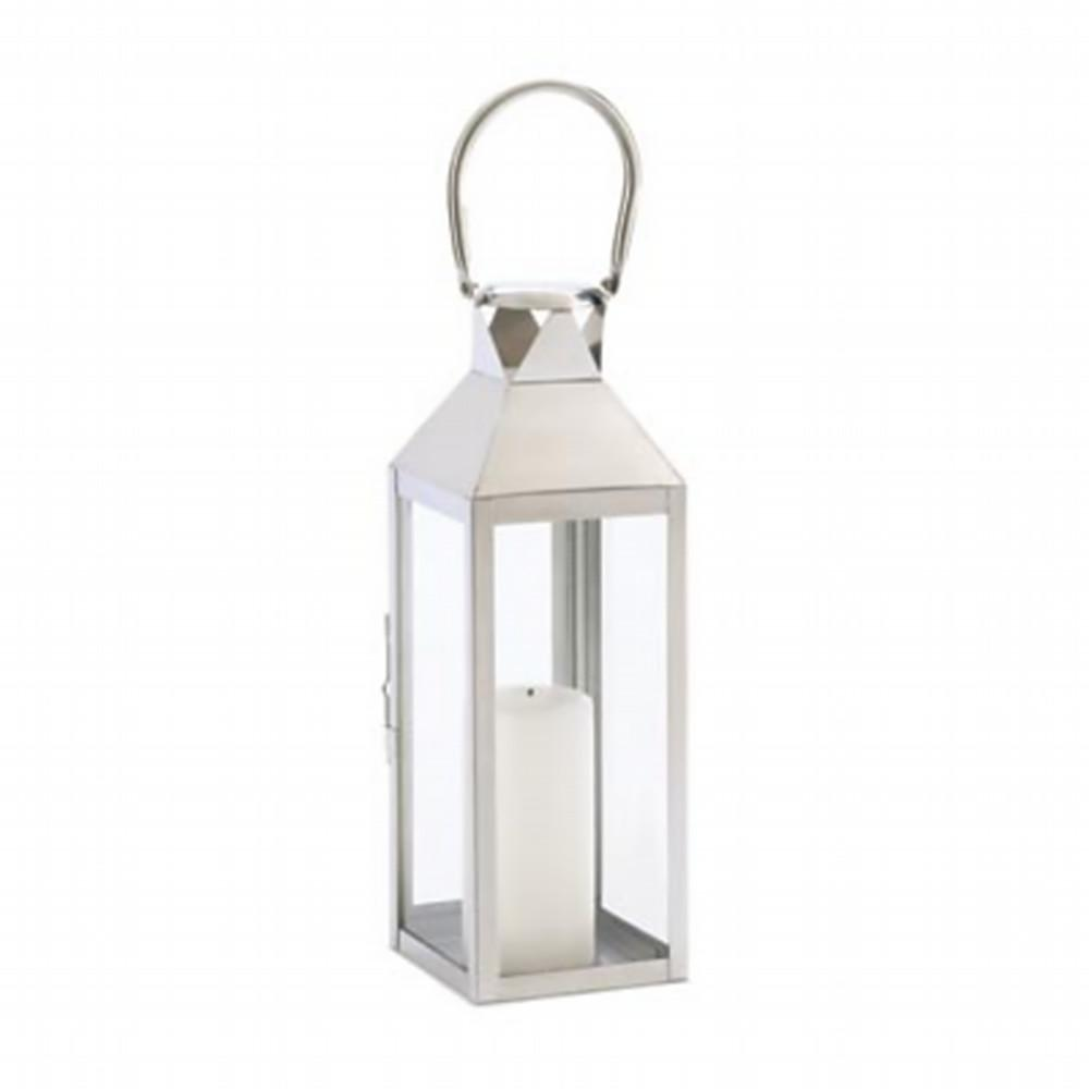 15 POLISHED SILVERTONE SLEEK CONTEMPORARY CANDLE LANTERN WEDDING