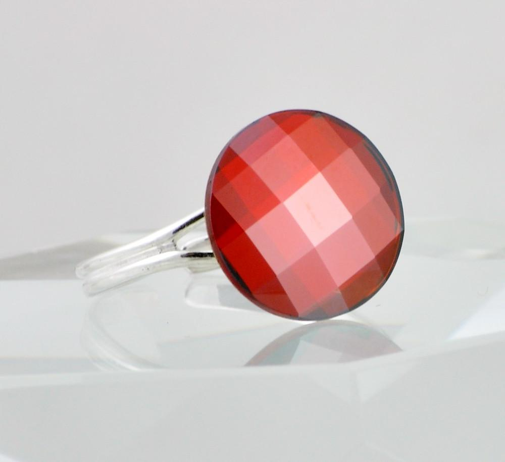 Red Swarovski Crystal Ring, Round Cocktail Ring, Red Magma, Sterling Silver