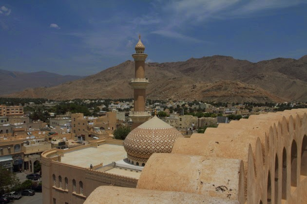 Nizwa mosque and town as seen from the top of Nizwa Fort