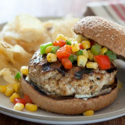 Chicken Burgers with Corn Relish