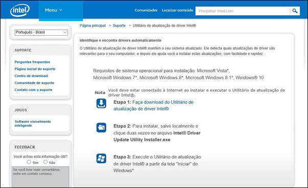 Identifique e encontre drivers automaticamente - Intel