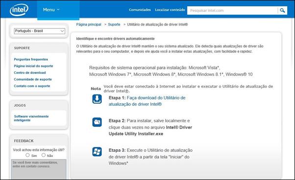 Identifique e encontre drivers automaticamente - Intel