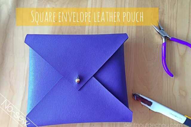 square envelope purple leather pouch DIY