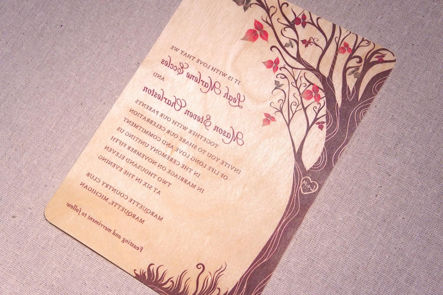 Real Wood Wedding Invitations