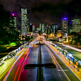 South Bank Bus Stop by Linda Taylor - City,  Street & Park  Night ( queensland, bus, trail lights, night photography, brisbane, southbank, long exposure, night, landscape, bus stop, nightscape, city )