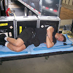 Lance, one of the hardest working members of Toby's crew, takes a nap when the music finally starts