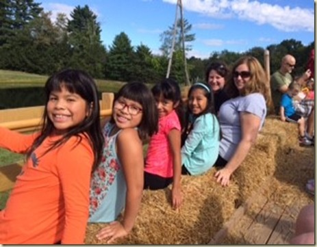 girls on hayride