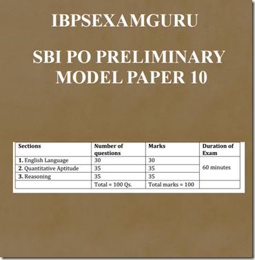 SBI PO Preliminary Model Paper 10