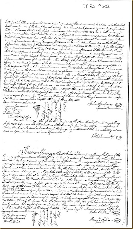 John Robison and Mary Robison of Warren Co, OH convey land to John Irwin 1852