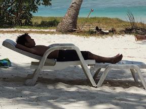 Amani taking a break from swimming - Aitutaki