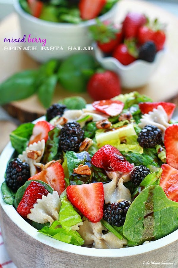 Mixed Berry Spinach Pasta Salad makes a light and delicious side dish.jpg