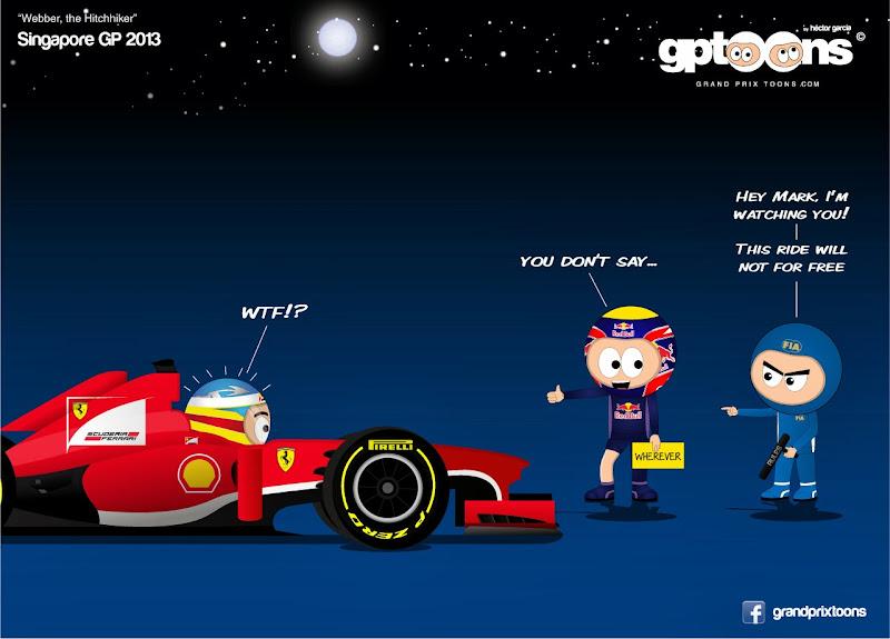 Марк Уэббер хитчхайкер Гран-при Сингапура 2013 - комикс Grand Prix Toons